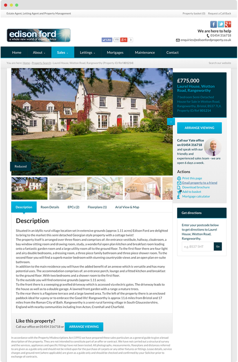 The property details page features a photo gallery which has a full screen mode, tabbed interface containing the description, room details, floorplan(s) and an arial view map powered by Bing.