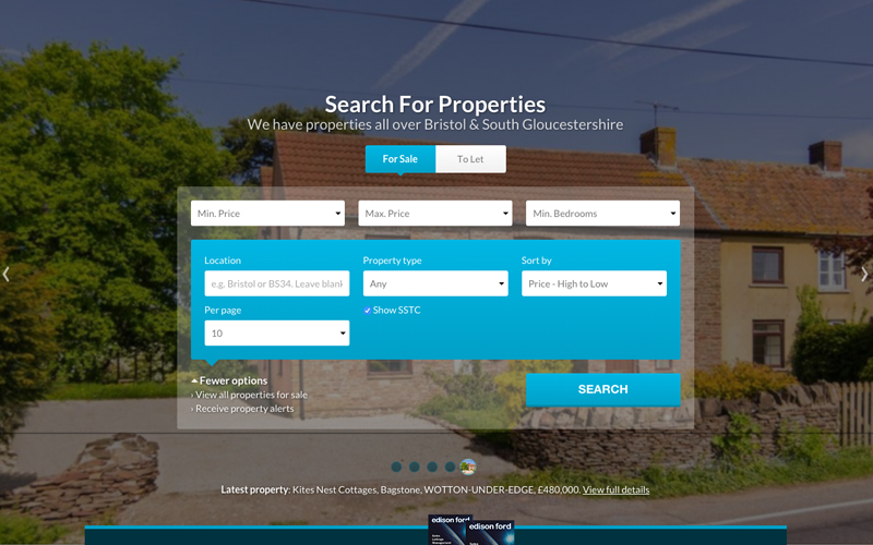 The first thing you see on the home page is a large image of a latest property and a comprehensive list of search fields.